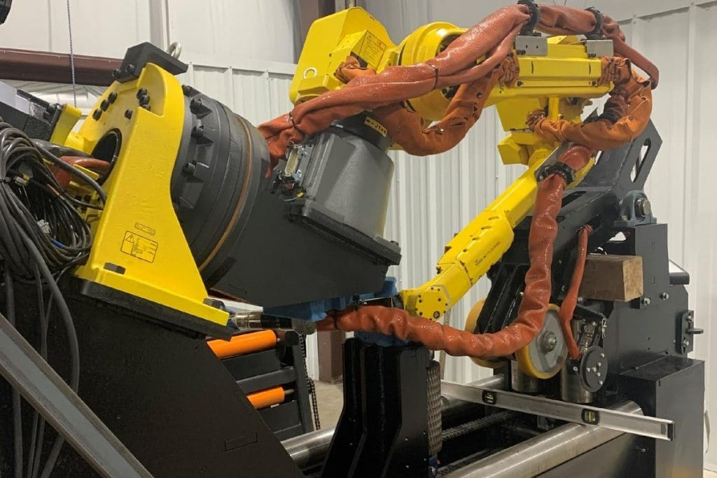 PCR42 structural steel plasma cutting robot located inside factory.